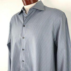 Giorgio Armani Blue Grey Vertical Stripe Dress Shi